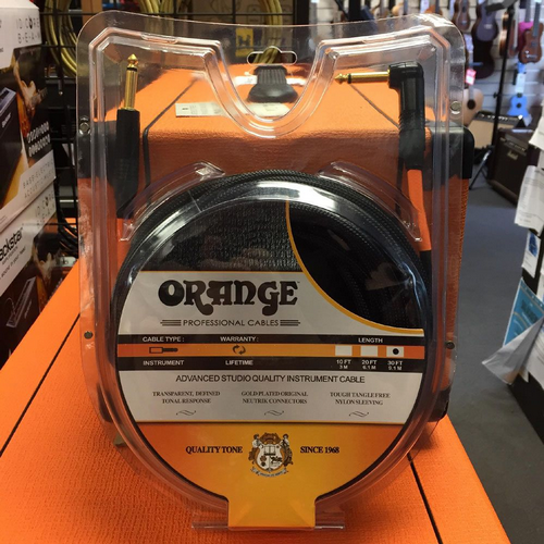 Orange Advanced Studio Quality Instrument Cable 30ft, Straight To Angled End, Black